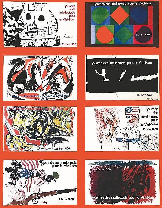 PICASSO PABLO  lot de 2 Aff : Journée des Intéllectuels pour le Vietnam 22 03 68     1968