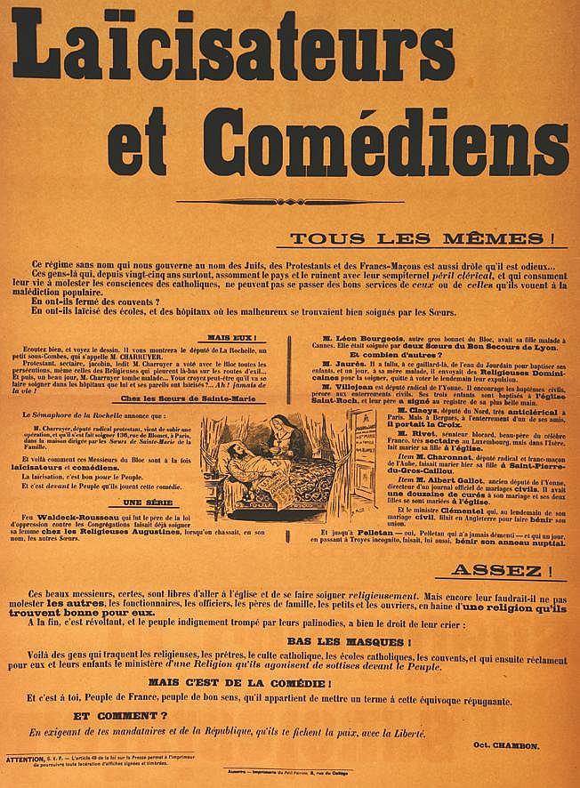 Laicisateurs et Comédiens - Tous le Mémes ! 1905