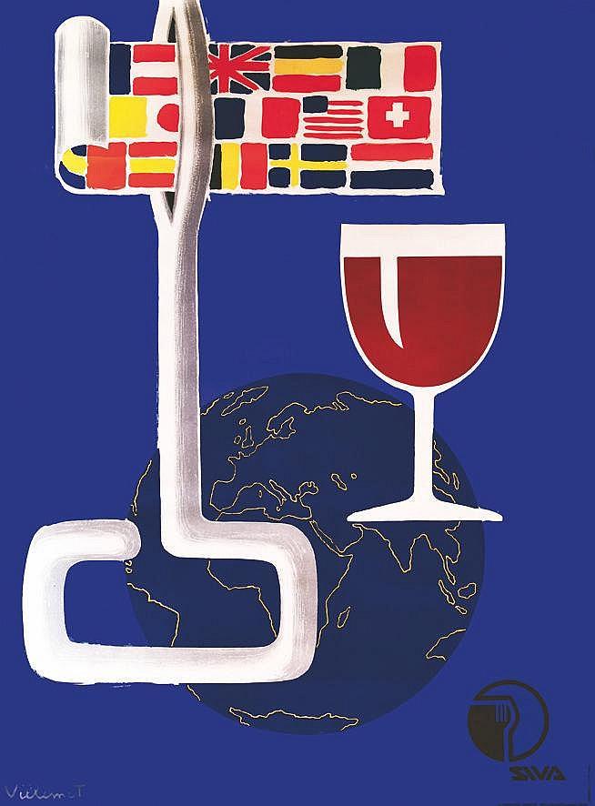 VILLEMOT BERNARD  Affiche Avant La Lettre : Dijon Salon International des Vins et de L'Allimentation     vers 1960