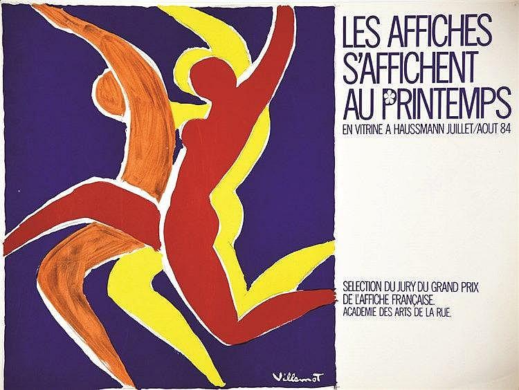 VILLEMOT BERNARD Les Affiches s'affichent au Printemps. En vitrine à Haussmann Juillet/Août 1984