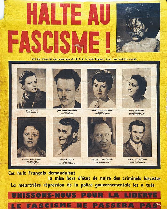 Halte aux Facisme -  L'un des Crimes de l'OAS     vers 1960