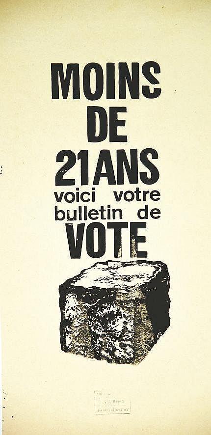 Moins de 21 ans voici votre bulletin de vote     1968