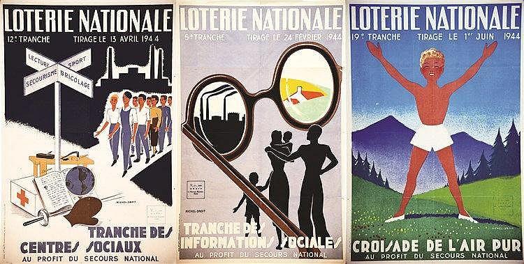 DROIT MICHEL Lot de 3 Aff Loterie Nationale : Centres Sociaux - Informations Sociales - Croisade de l'Air Pur 1944 Levallois Perret (Hauts de Seine)