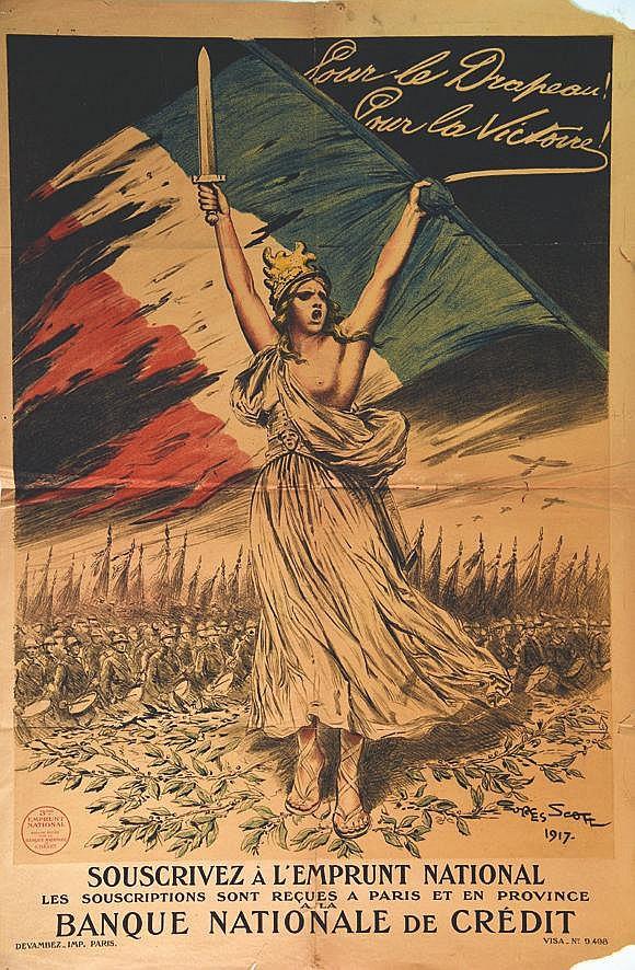 SCOTT GEORGES  Banque Nationale de Crédit Pour le Drapeau! Pour la victoire     1917