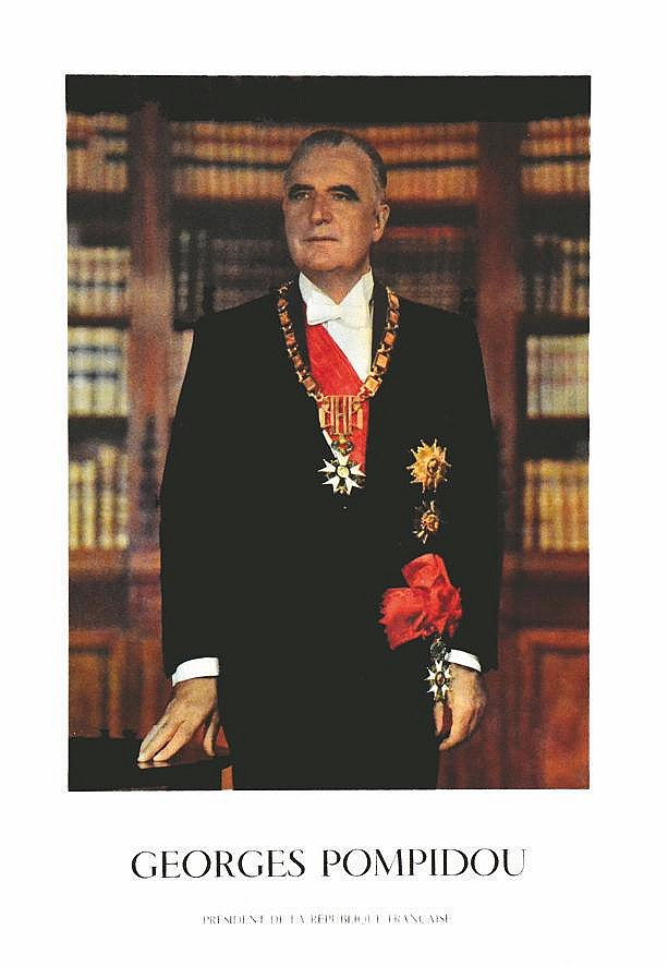 PHOTO : FRANCOIS PAGES  Georges Pompidou - Président de la République Française - Photo Officielle     1969