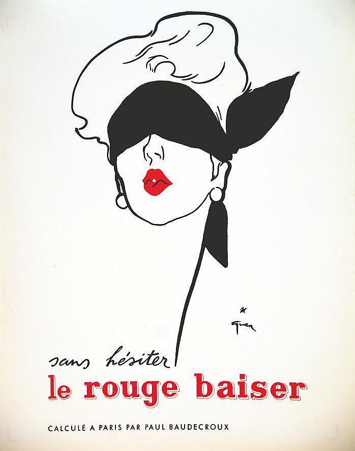 GRUAU RENE  Sans Hésiter Le Rouge Baiser  Paul Baudecroux     vers 1950