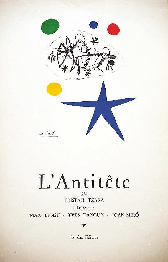MIRO JOAN L'Antitête par Tristan Tzara vers 1950