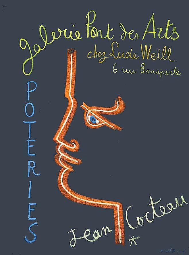 COCTEAU JEAN  Jean Cocteau Poteries - Galerie Lucie Weill     vers 1950