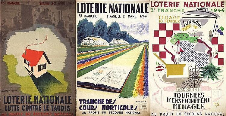 HENRIETTE GONSE - MICHEL DROIT - DAMBIER COKKINIS Lot de 3 Aff Loterie Nat: Tournée d'Enseignement - Cours Horticole - Lutte Contre le Taudis 1944 Levallois Perret (Hauts de Seine)