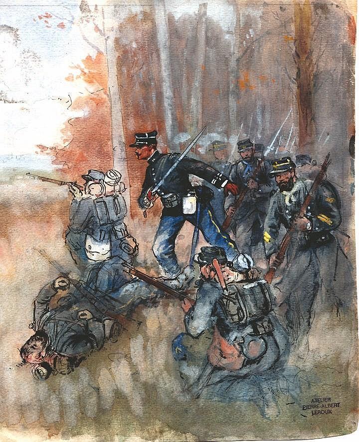 LEROUX PIERRE ALBERT  Infanterie au Combat Aquarelle avec le Cachet  de Pierre Albert Leroux     1914