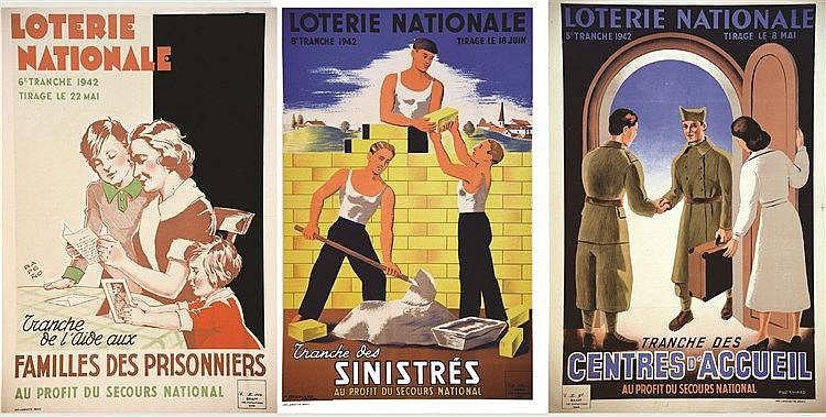 P. BESNIARD - RAPENO  Lot de 3 Aff Loterie Nationale: Familles de Prisoniers - Les Sinistrés - Centre d'Acceueil     1942