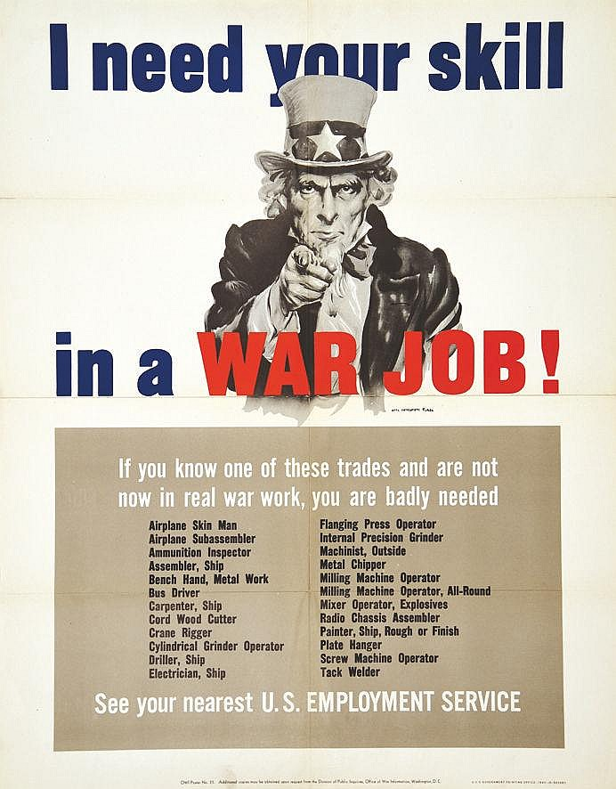 MONTGOMERY FLAGG JAMES  I Need Your Skill In A War Job     1943