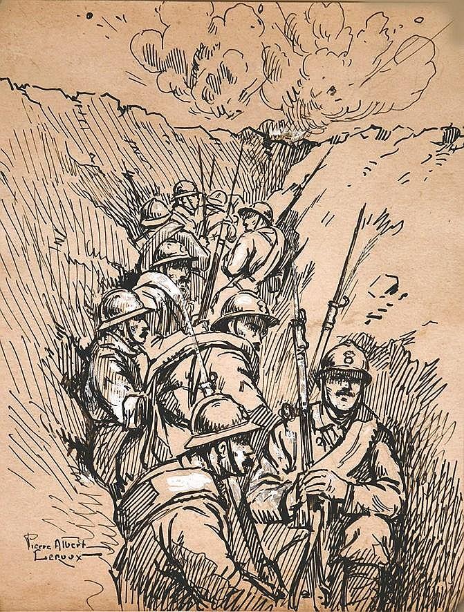 LEROUX PIERRE ALBERT  Poilus en réserve dans un boyeau     vers 1915