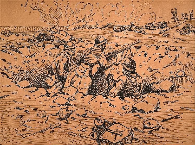 LEROUX PIERRE ALBERT  Fusil Mitrailleur en action   Dessin & Aquarelle  Signé et titré par Pierre Albert Leroux     vers 1915