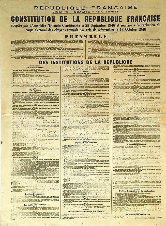 Constitution de La 4 ème République le 29 Septembre 1946     1946