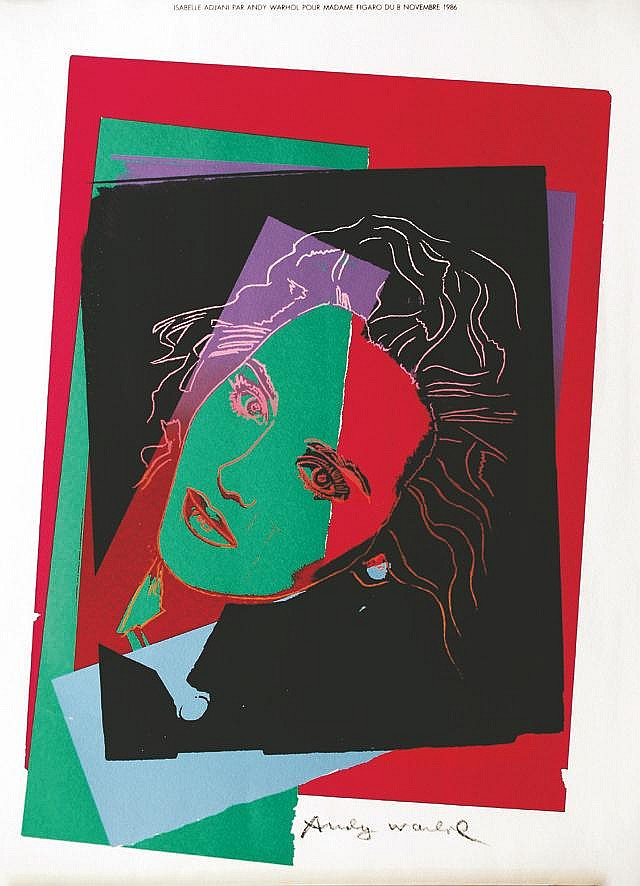 WARHOL ANDY  Isabelle Adjani par Andy Warhol pour Madame Figaro 08 Novembre 1986 signée dans la Planche     1986