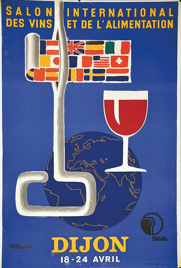VILLEMOT Dijon Salon International des Vins et de L'Allimentation vers 1960