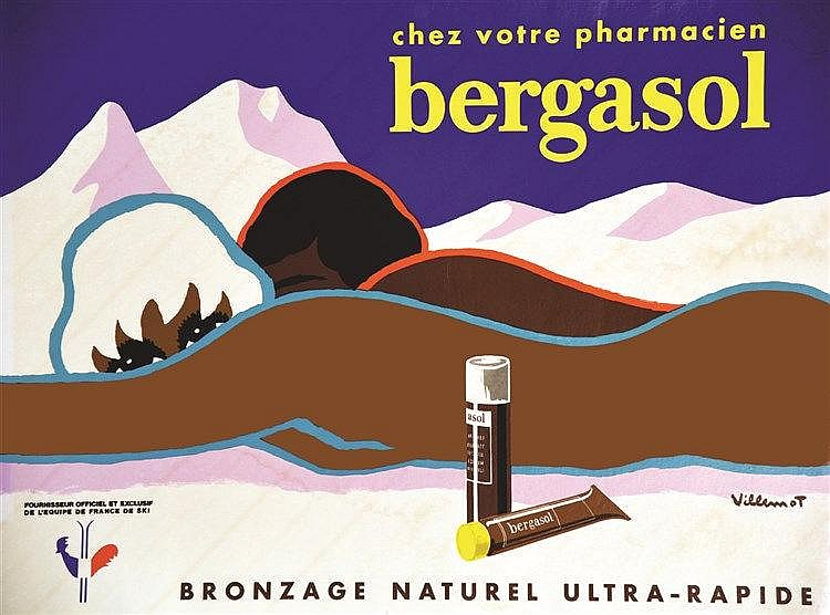 VILLEMOT Bergasol - Bronzage Naturel Ultra-Radipe - Fournisseur off Equipe de France Ski vers 1960