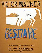 BRAUNER VICTOR  Victor Brauner Bestiaire Le Point Cardinal Affiche au Pochoir     1963