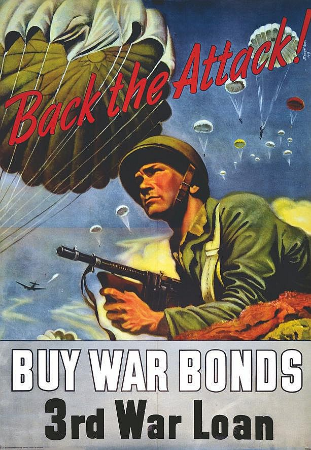 SCHREIBER Buy War Bonds - 3rd War Loan - Back the Attack! 1943