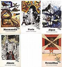 DALI SALVADOR  Lot de 5 Affiches de Salvador Dali pour la SNCF     1970
