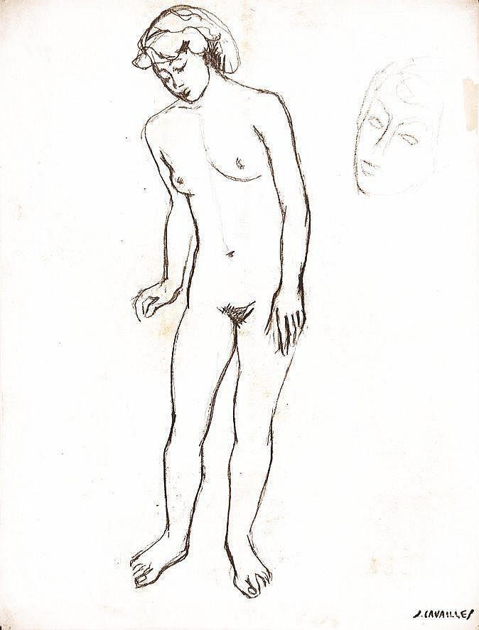 CAVAILLES JULES  Femme nue Dessin au crayon signé du Tampon J. Cavailles     vers 1930