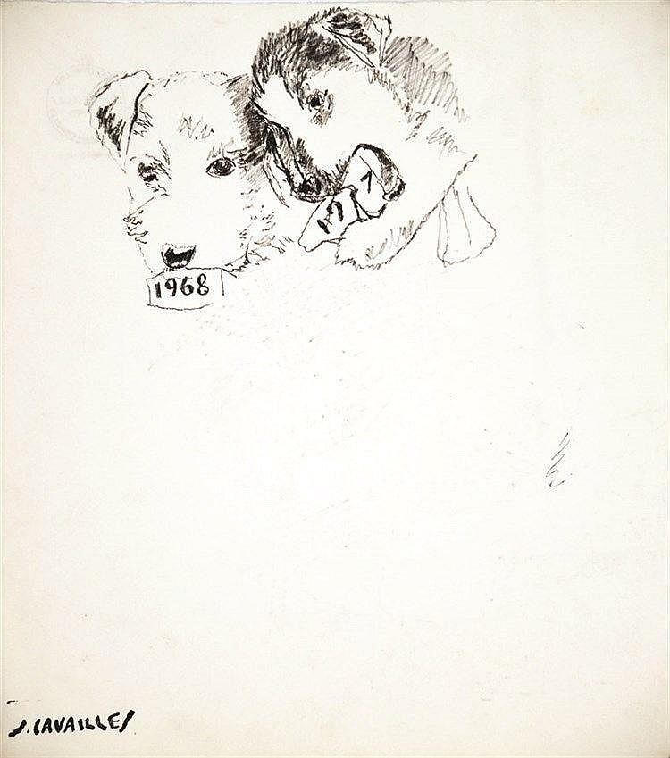 CAVAILLES JULES  Chiens 1967 1968 Projet Carte de Vœux -   Dessin Feutre signé du cachet J Cavailles     1968