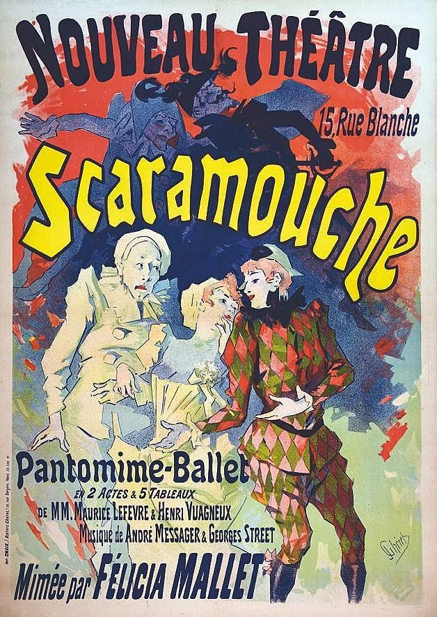 CHERET JULES  Scaramouche Nouveau Théâtre     vers 1890