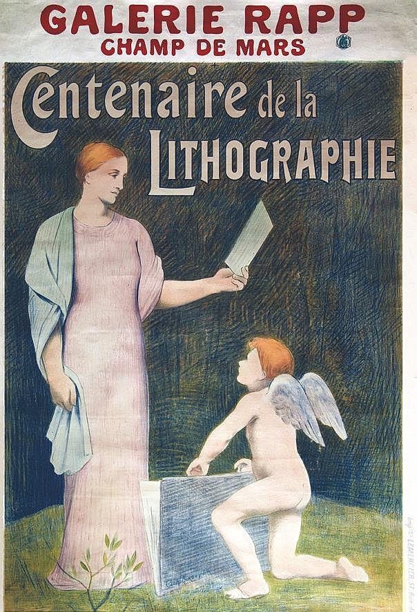 ACH. SIROUY LITH. Centenaire de la Lithographie Galerie Rapp Champ de Mars vers 1900