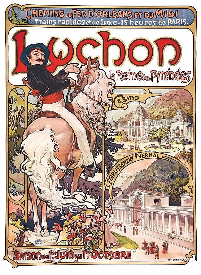 MUCHA ALPHONSE Luchon - La Reine des Pyrénées 1895
