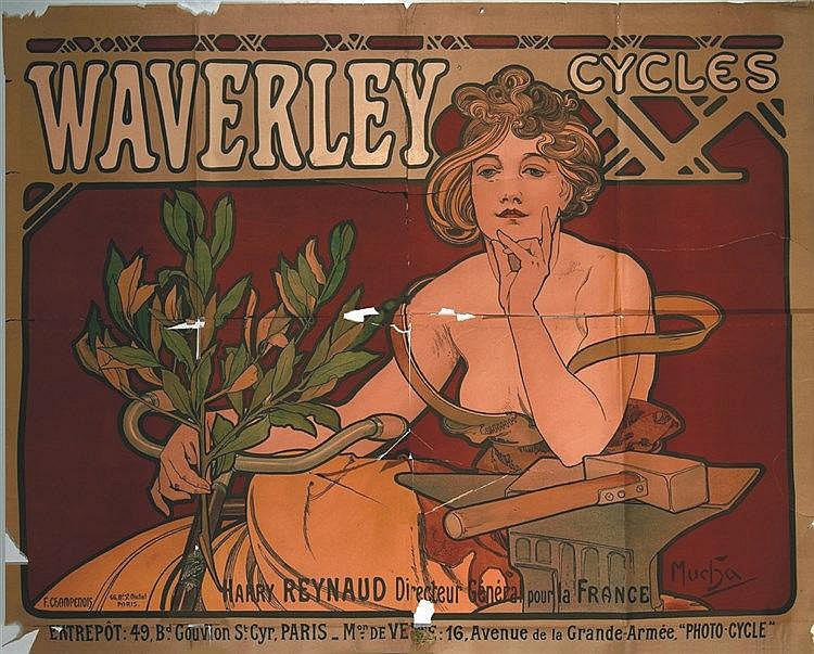 MUCHA ALPHONSE Waverley Cycles 1898