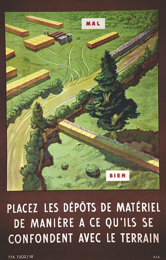 Placer les Dépots de Matériel de manière à ce qu'ils se confondentavec le terrain vers 1950