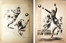 2 affiches d'un Match de Football vers 1930
