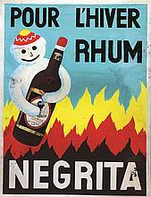 Pour l'Hiver Rhum Negrita Gouache & Collage     vers 1950  Bardinet (Bordeaux)