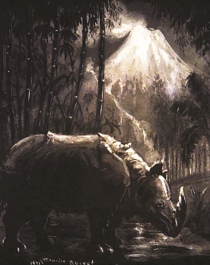 Rinhocéroce devant les volcans d'auvergne aquarelle signée Maurice Busset     1931