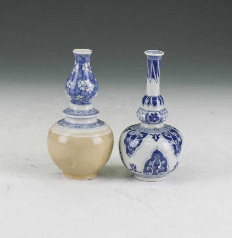 Two Ceramic Vase Gourd Shape