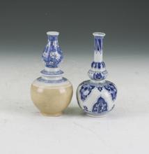 Two Ceramic Vase Gourd Shape