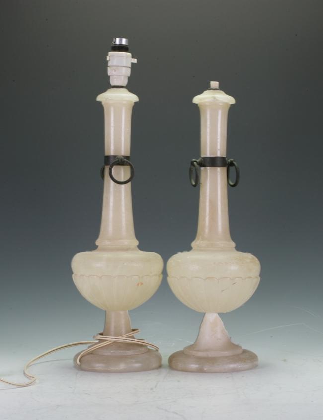 Pair Of Alabaster Lamp Bases