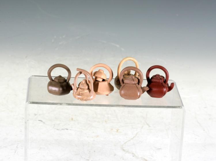 Six Miniature Tea Pots