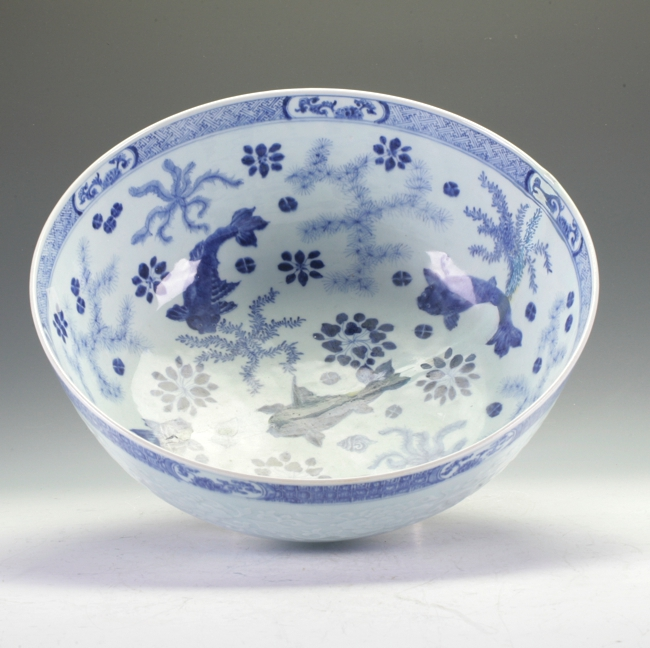 Large Qian Long Blue And White Bowl