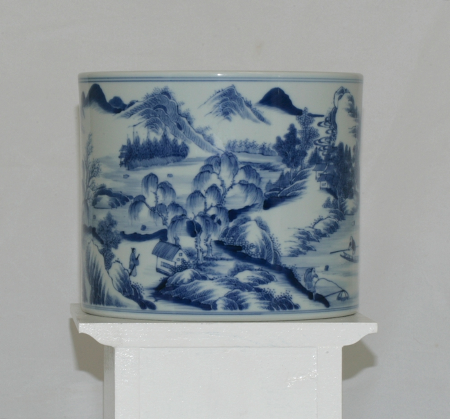 Large Blue And White Brush Pot