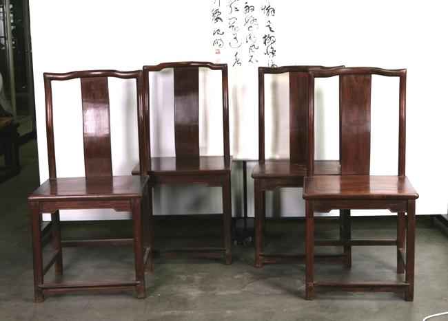 Rare Set Of Four Chinese Hardwood Lamp Hanger's