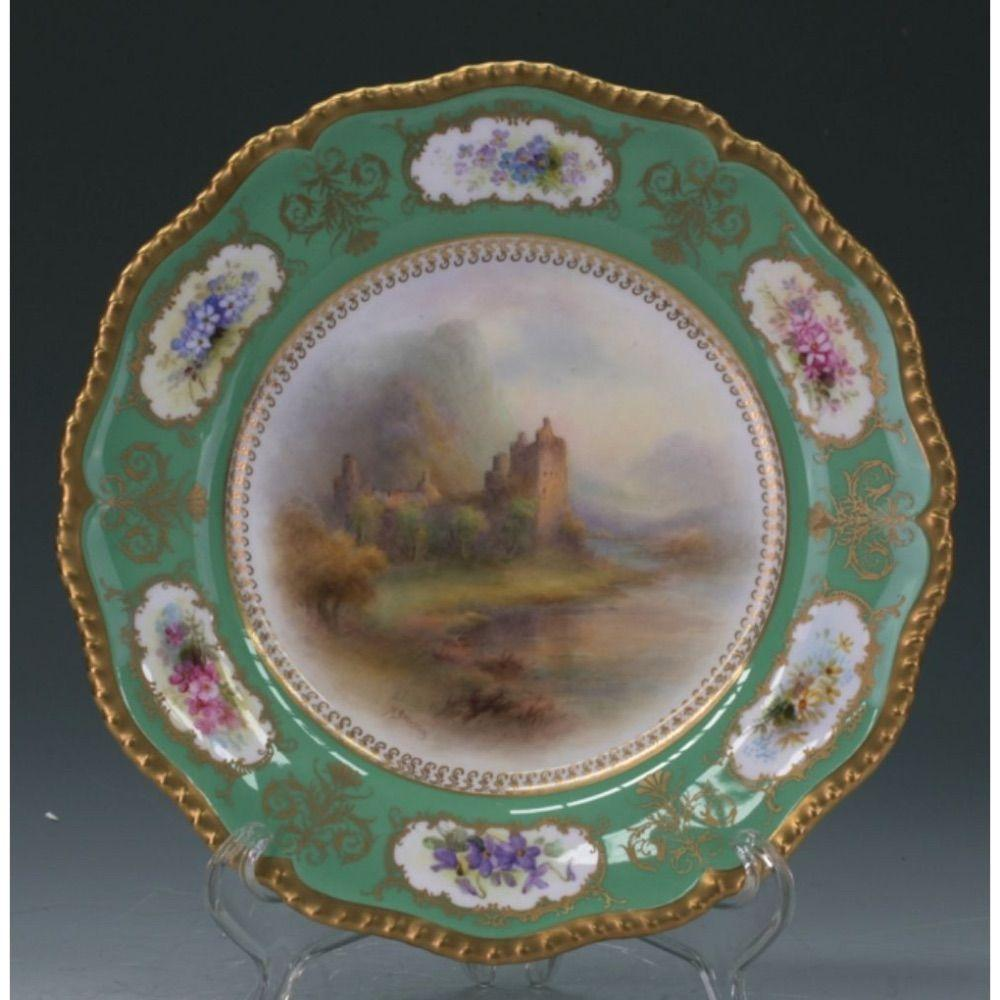 Royal Worcester Plate Castle Scene By Harry Stinton