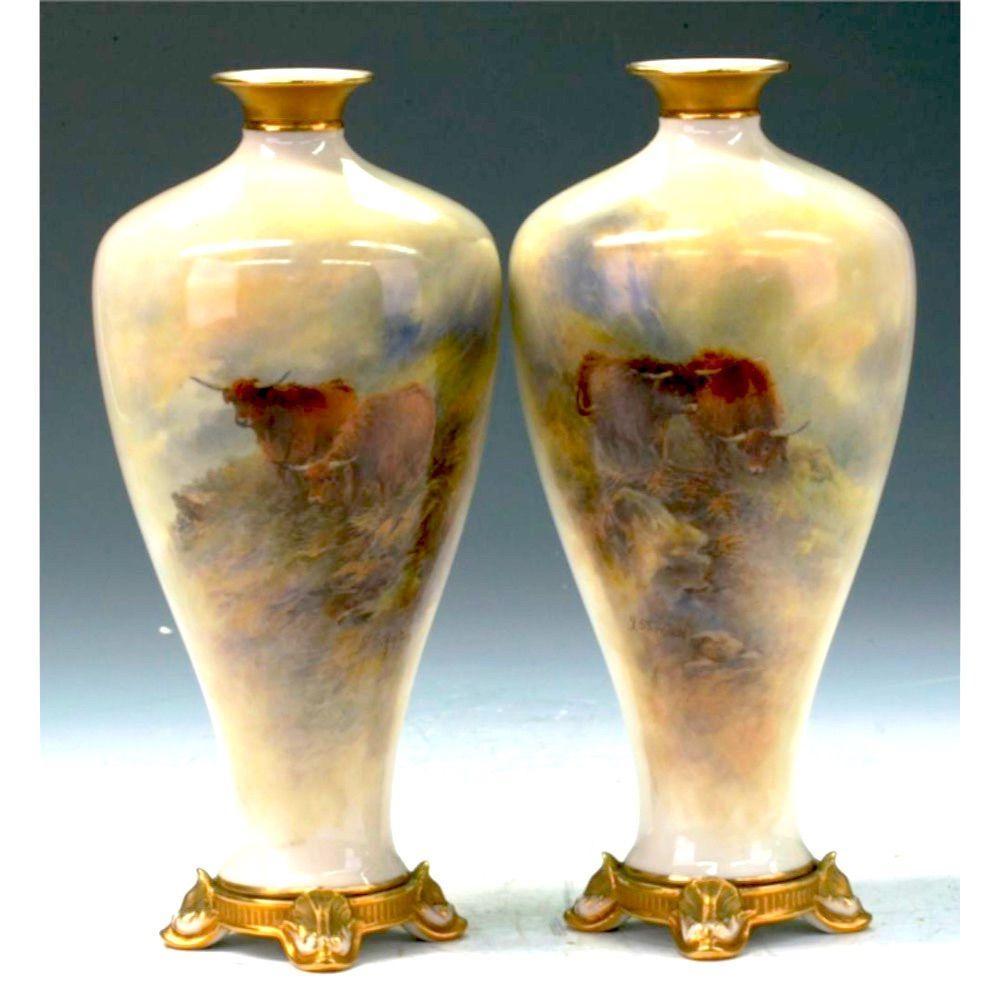Pair Of Worcester Vase - John Stinton