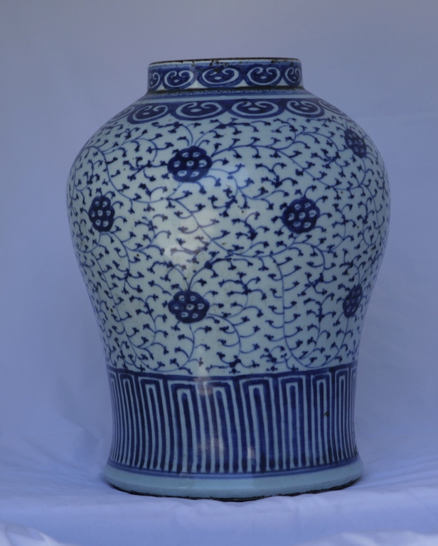 A large blue and white 17th century jar