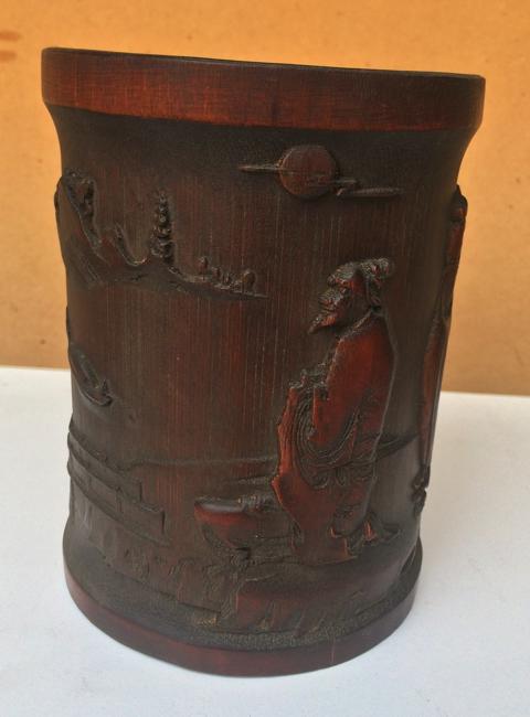 A bamboo brush pot