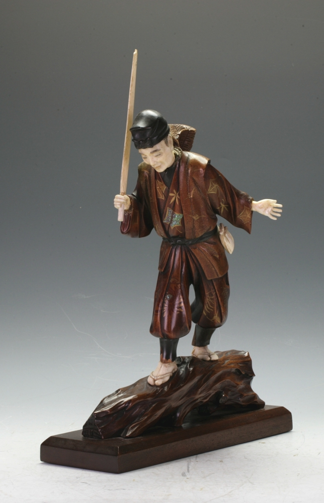 Japanese Boxwood and Ivory Fisherman