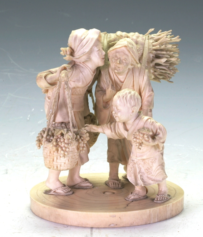 C19th Japanese Ivory figure group