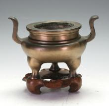C18th Bronze Censor with wooden stand