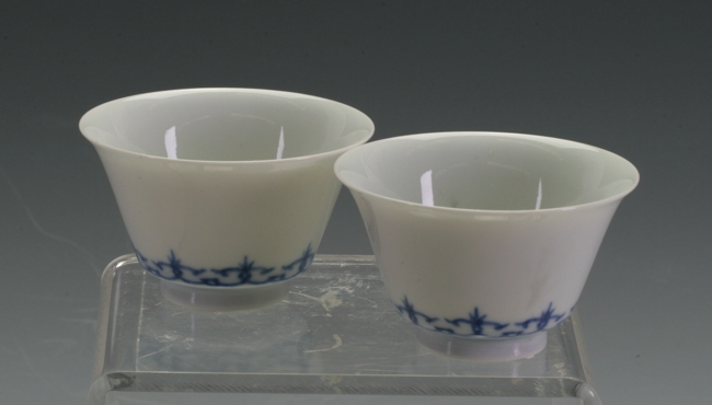 A pair of Blue and White tea bowls